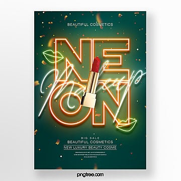fashion neon effect makeup lipstick product poster Template