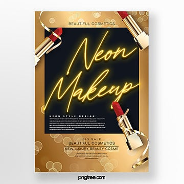 golden fashion luxury neon makeup effect product poster Template