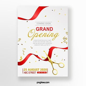 Grand Opening Poster Golden Invitation Template Template For