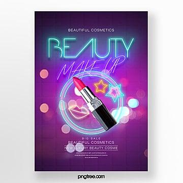 neon effect fashion modern glow effect makeup theme poster Template
