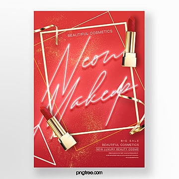 red luxury fashion neon effect makeup product poster Template