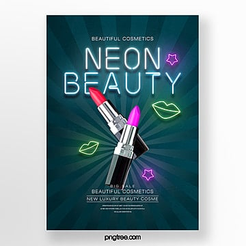 simple fashion neon effect makeup product theme poster Template