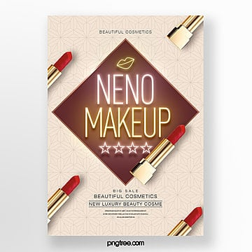 simple fashion neon effect makeup theme poster Template