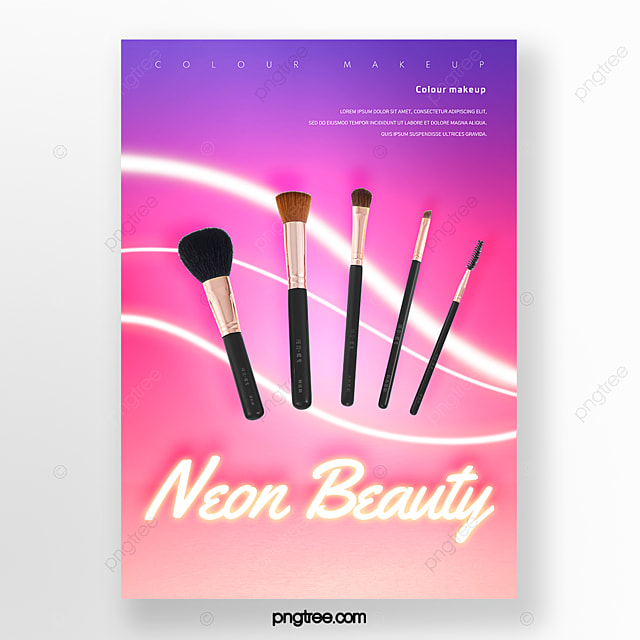 Gradient Neon Line Makeup Brush Poster Template for Free