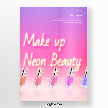 colorful gradient yellow neon nail polish poster Template