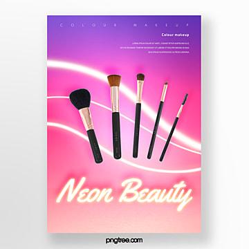 gradient neon line makeup brush poster Template