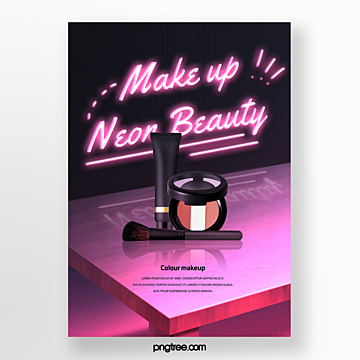 night pink neon makeup poster Template