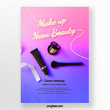 pink purple gradient neon makeup poster Template