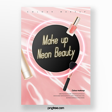 pink round neon makeup poster Template