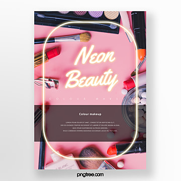 powder color makeup yellow neon geometric poster Template