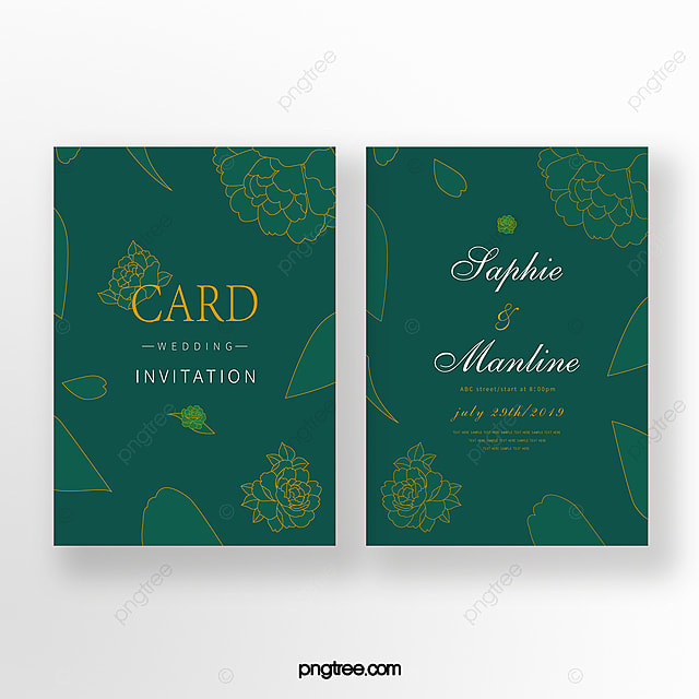 Emerald Gold Line Double Sided Wedding Invitation Romantic