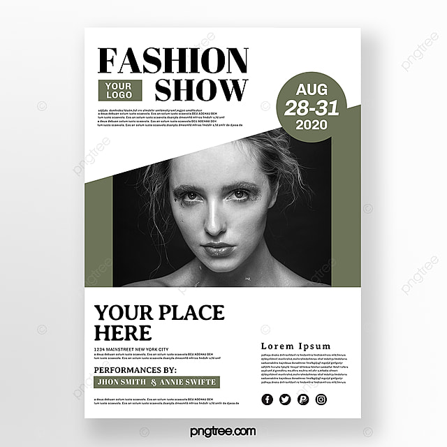 Green Minimalist Fashion Show Poster Template For Free