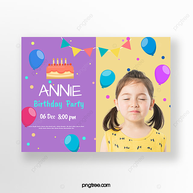 Color Cartoon Children Birthday Party Invitation Card