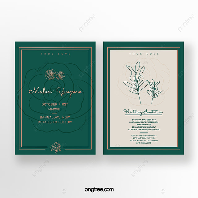 Emerald Gold Double Sided Wedding Invitation Template For