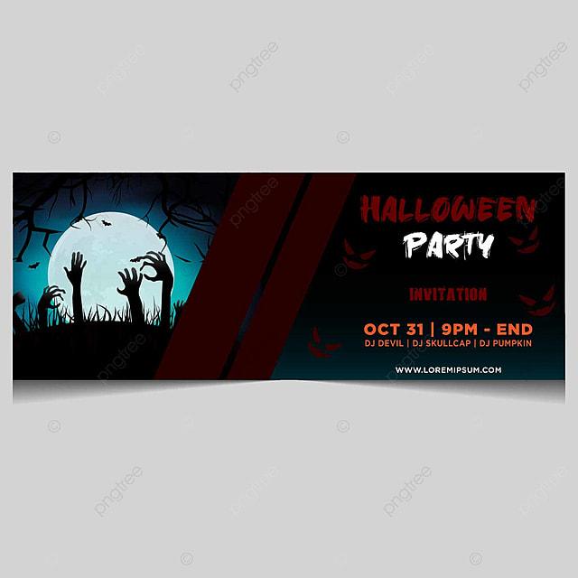 Diseño De Tarjeta De Invitación De Banner De Halloween Con