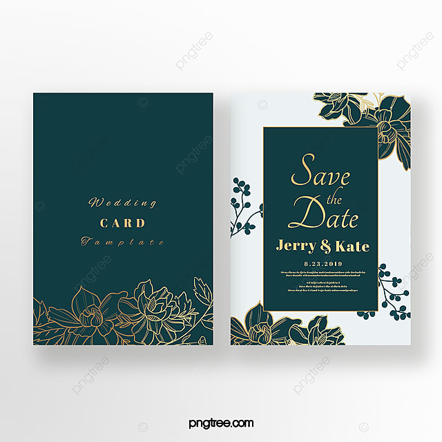 Exquisite Emerald Double Sided Wedding Invitation Template