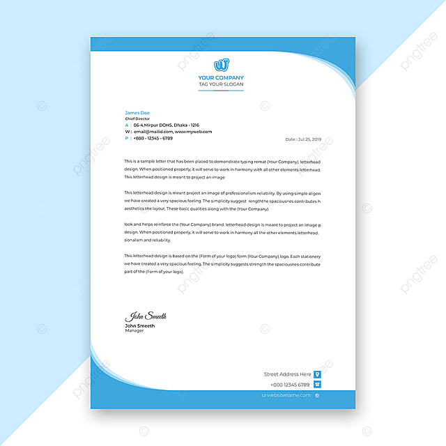 Blue Corporate Letterhead Design Free Psd File Download: Blue Business Letterhead Template For Free Download On Pngtree