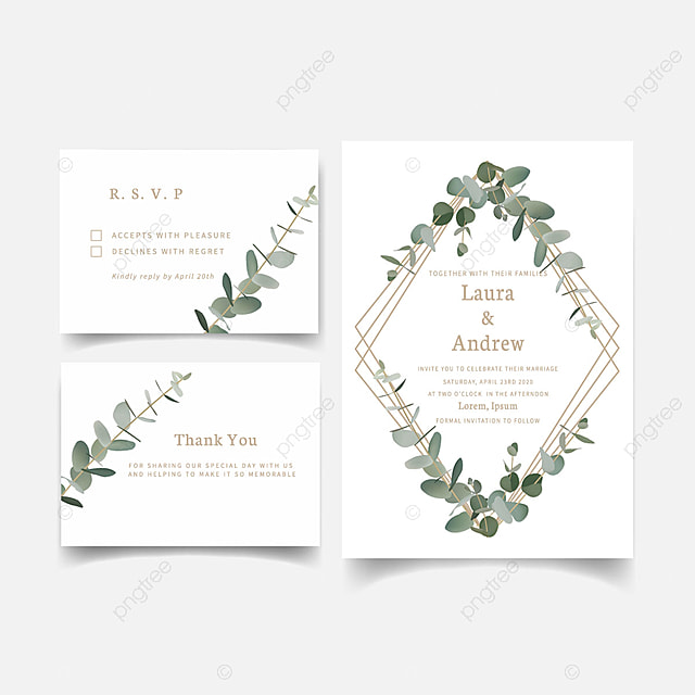 wedding invitation template greenery eucalyptus leaf template for free download on pngtree