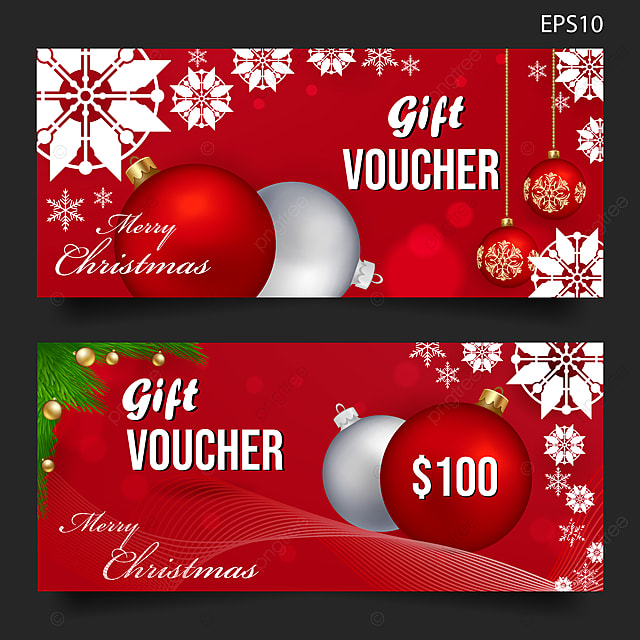 Logo Mockup Design Isolated: Merry Christmas Gift Voucher Background Vector Template