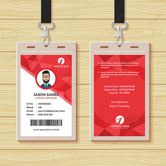 Red Geometric Employee Id Card Design Template Template