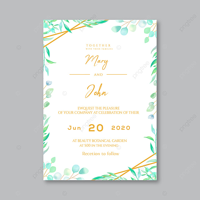 green leaves wedding invitation card design template for