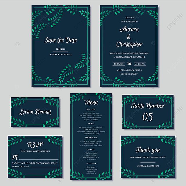 Elegant Wedding Invitations Set With Green Floral Motives