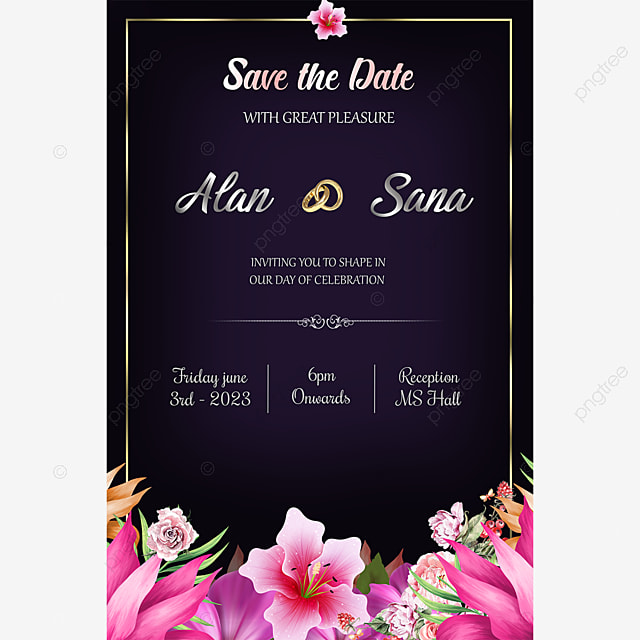 Conceptions De Cartes D Invitation De Mariage Modele De Telechargement Gratuit Sur Pngtree