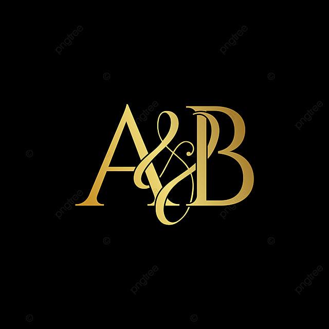 Creative Elegant Fashion Logo: Initial Letter A B Ab Luxury Art Vector Mark Logo Gold