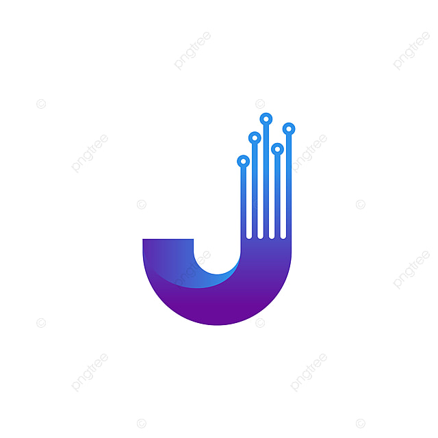 Triangle Initial J Logo Modern Design With Circuit Element