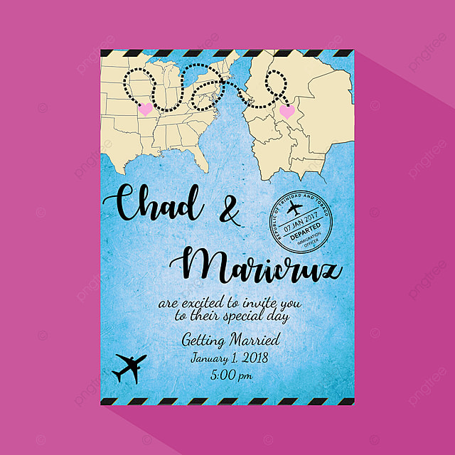 Love From Distance Wedding Invitation Card Template For Free