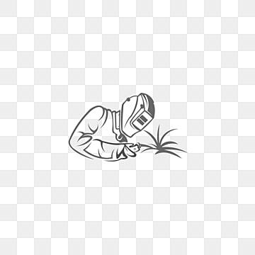 Сварщик сваривает металл черно белые иллюстрации сварщика в рабочей одежде линейного искусства силуэт сварщика Шаблон