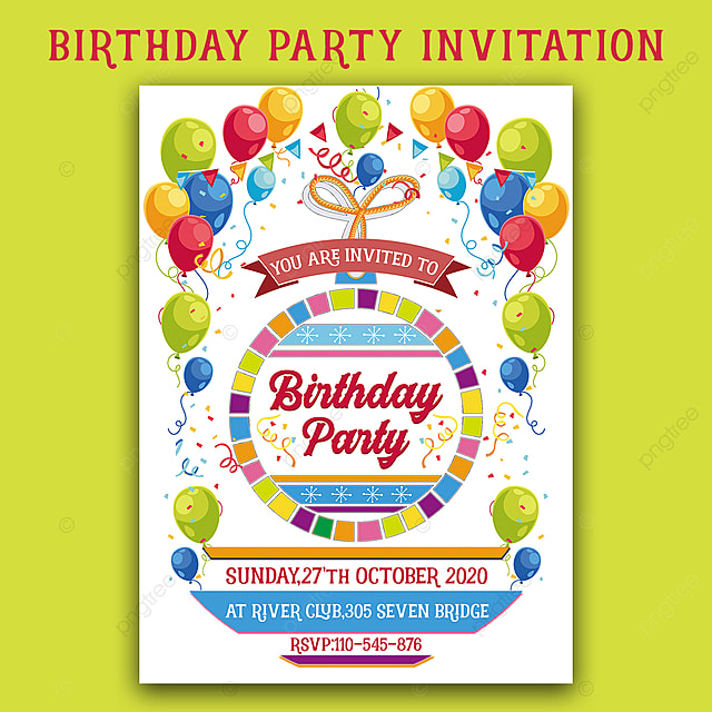 Colourful Birthday Invitation Card Template For Free
