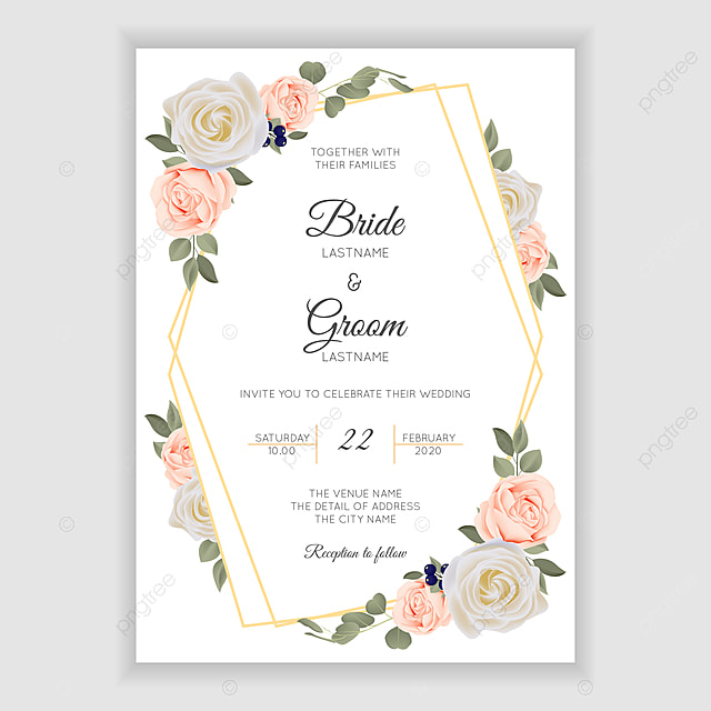 Rustic Rose Flower Wedding Invitation Card Template Pastel