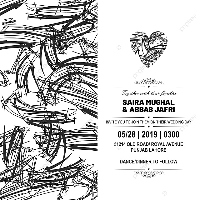 Classical Hand Drawn Wedding Invitation Card With Floral