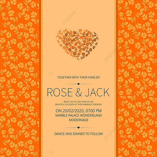 Simple Wedding Invitation Card With Abstract Floral Frame