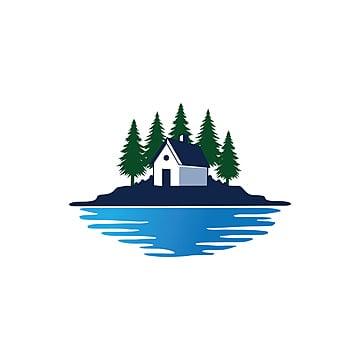 коттедж дома перед сосновым лесом и озером векторный дизайн логотипа Шаблон