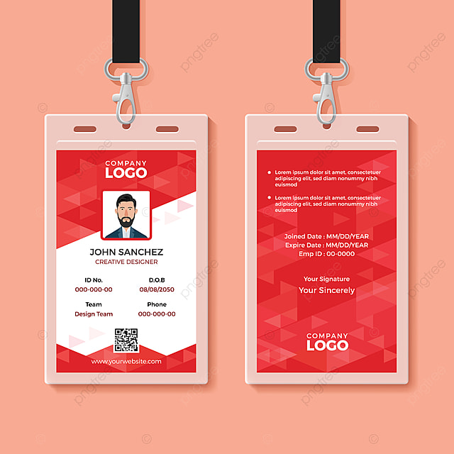 Red Corporate Id Card Design Template Template for Free