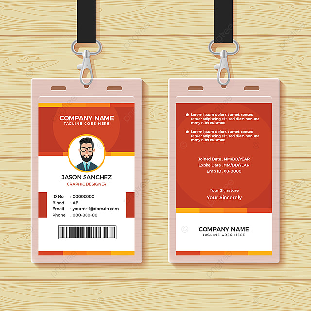 Red Employee Id Card Design Template Template for Free