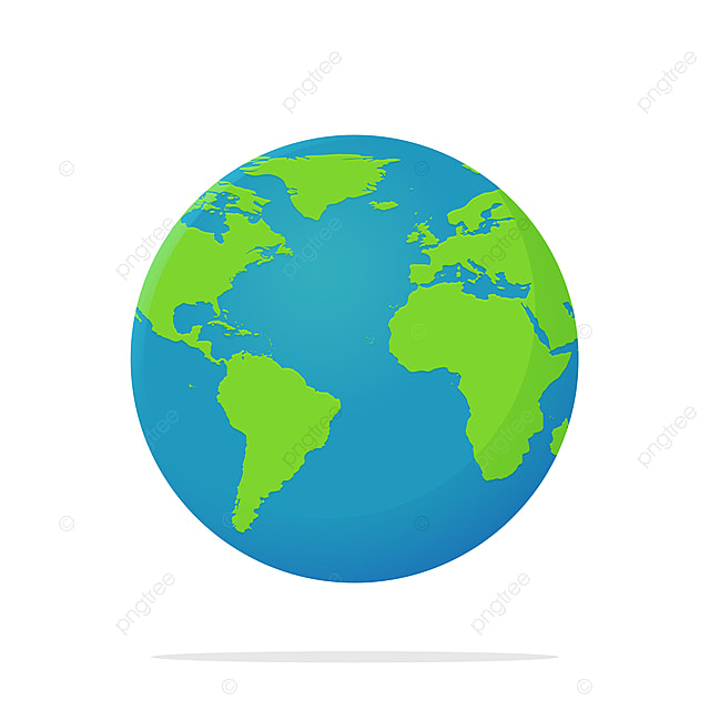 Earth Icon Vector Globe With A Flat Cartoon World Map Isolate On