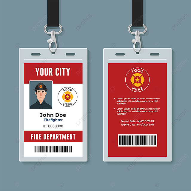 Firefighter Id Badge Design Template Template for Free