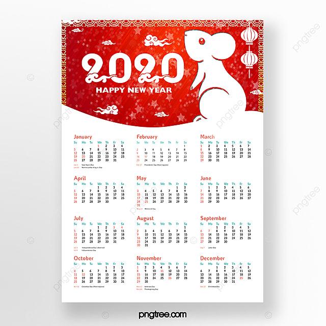 red cartoon rat year chinese year calendar