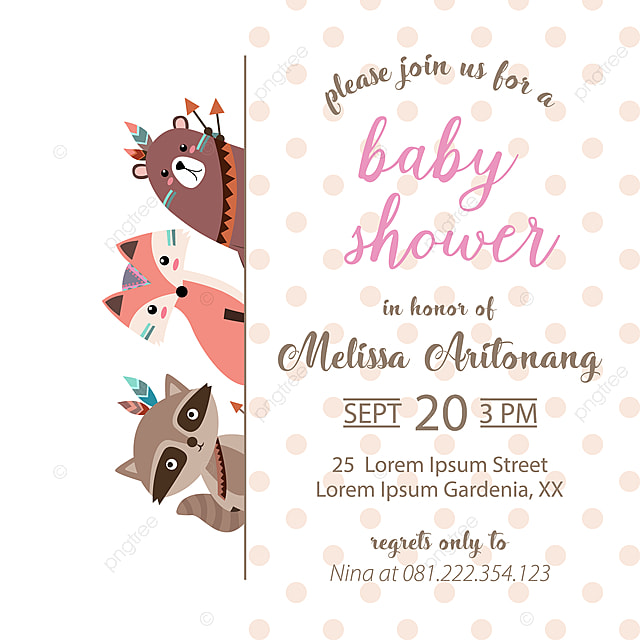 Cute Baby Shower Invitation Card Template For Free Download