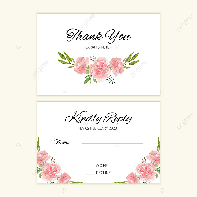 wedding rsvp card template with watercolor pink flower