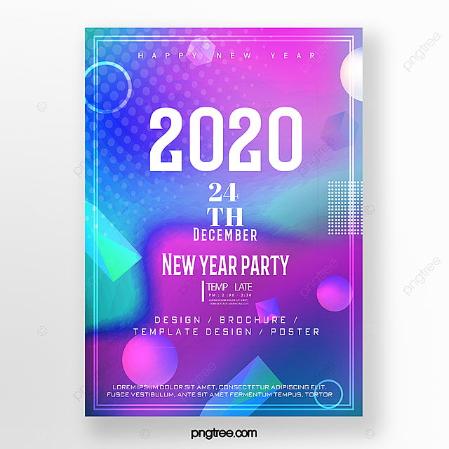trend colorful 2020 party poster template for free