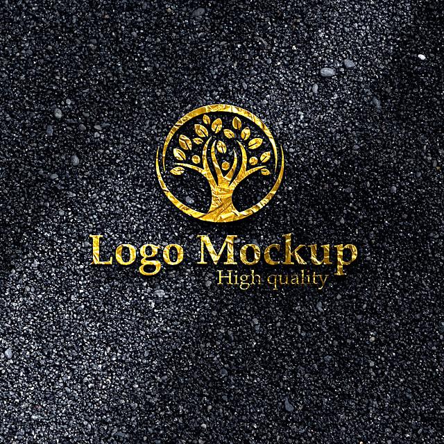 pngtree logo mockup gold black image 341818