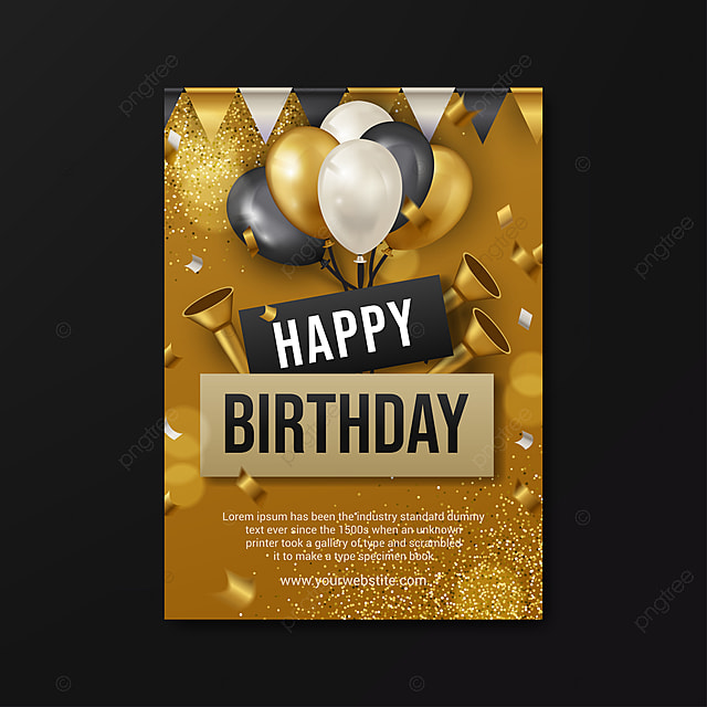 Modern Happy Birthday Poster Template With Gold Design ...