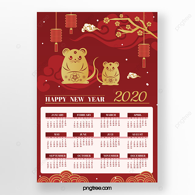 red rat year new year paper cut style 2020 calendar
