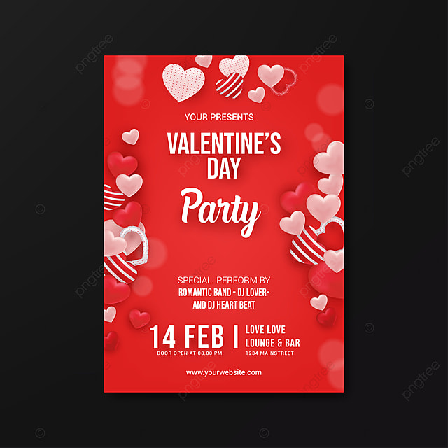 Valentines Day Party Flyer Template On Red Background Vector ...