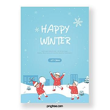 Зимний минималистичный рисованной зимний плакат для детей бросающих снежки на замерзшем озере Шаблон