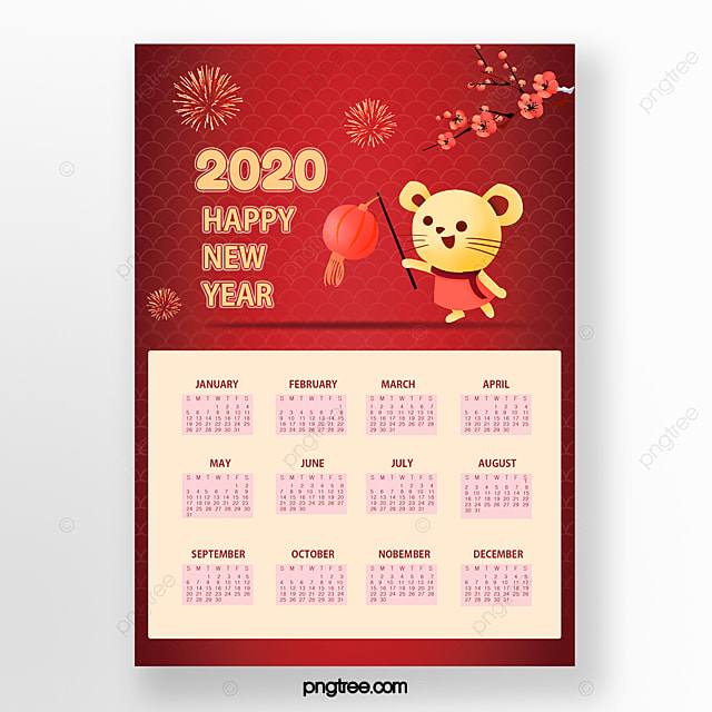 red happy new year 2020 cute little mouse calendar